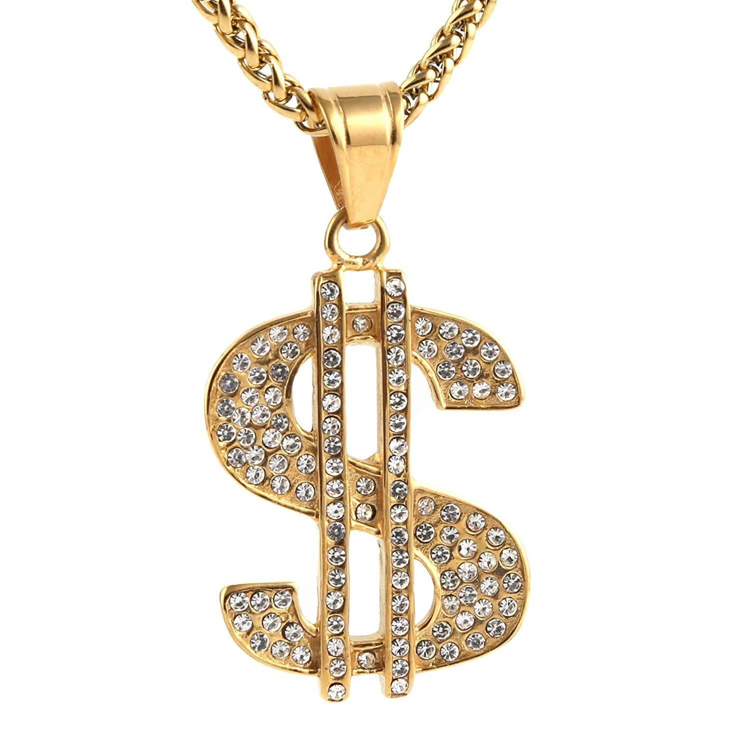 HZMAN Mens Gold Plated Dollar Sign Stainless Steel Pendant Necklace,Cz Inlay,with Free Hip hop Chain 24""