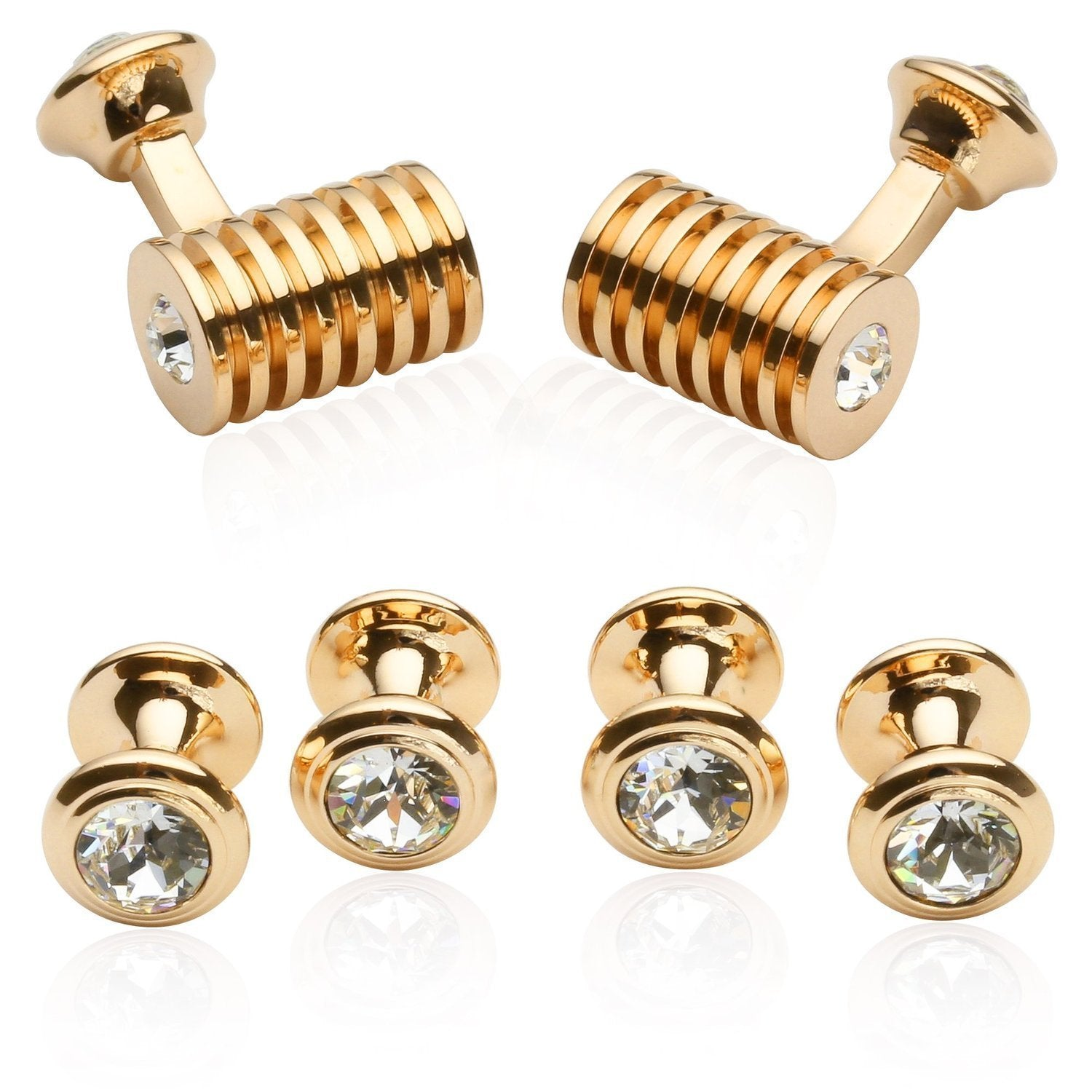 Cuff-Daddy Rose-Gold Plated-Tone Clear Swarovski Barrel Crystal Cufflinks and Studs Formal Set with Presentation Box