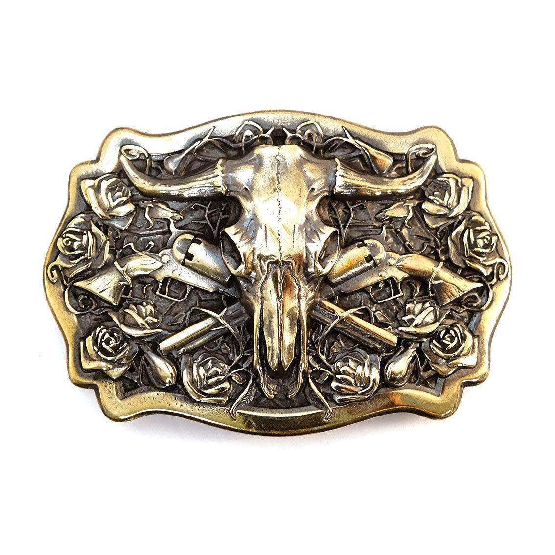 American Bison Buffalo Skull, Longhorn Cattle Buffalo Bison Skull Tribal Native American Cowboy Western men solid brass trophy belt buckle