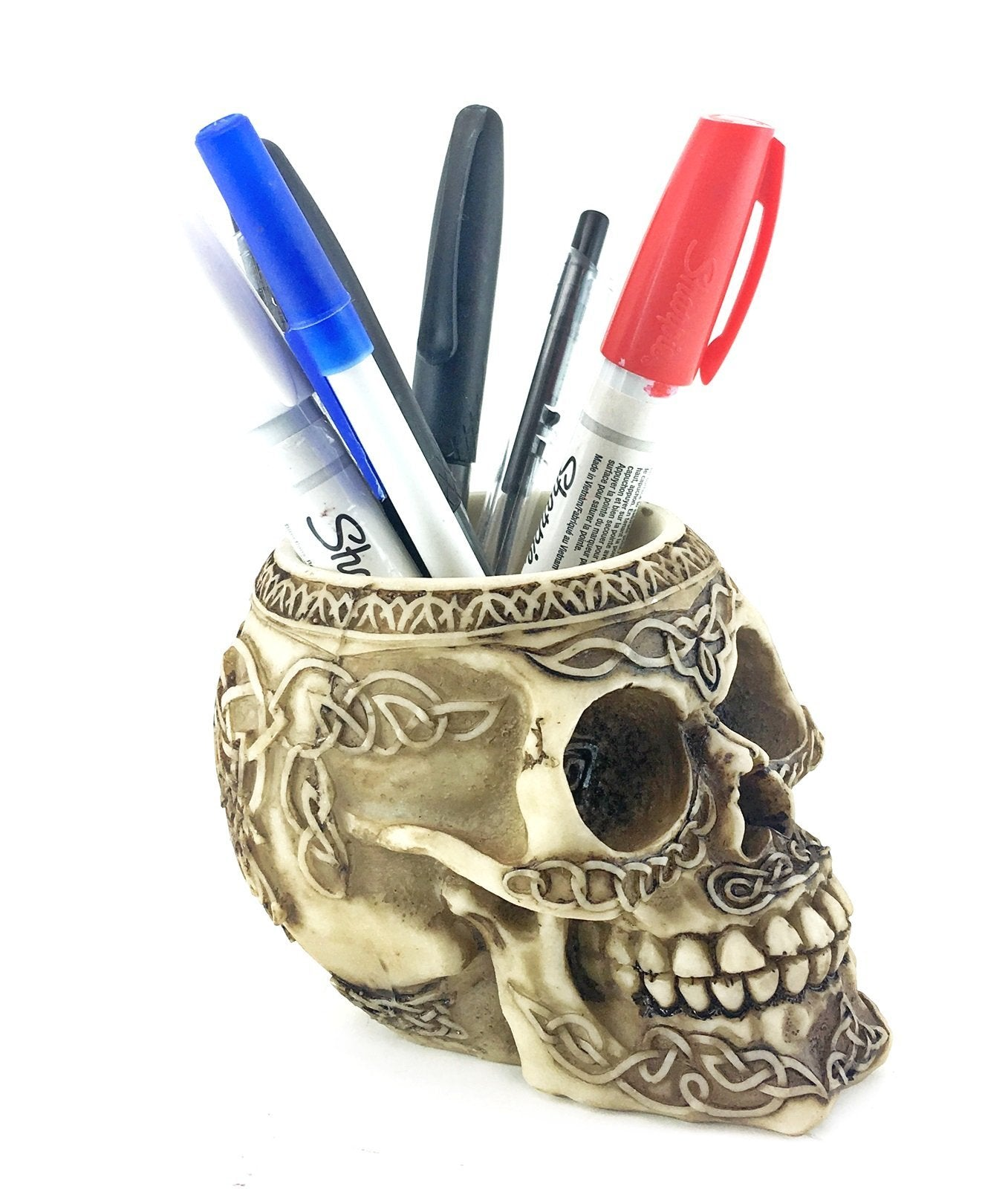 Bellaa 21000 Skull Pencil Holder Celtic Knot Tribal Tattoo. - SonsofOdin Co Goth Viking Biker Jewellry