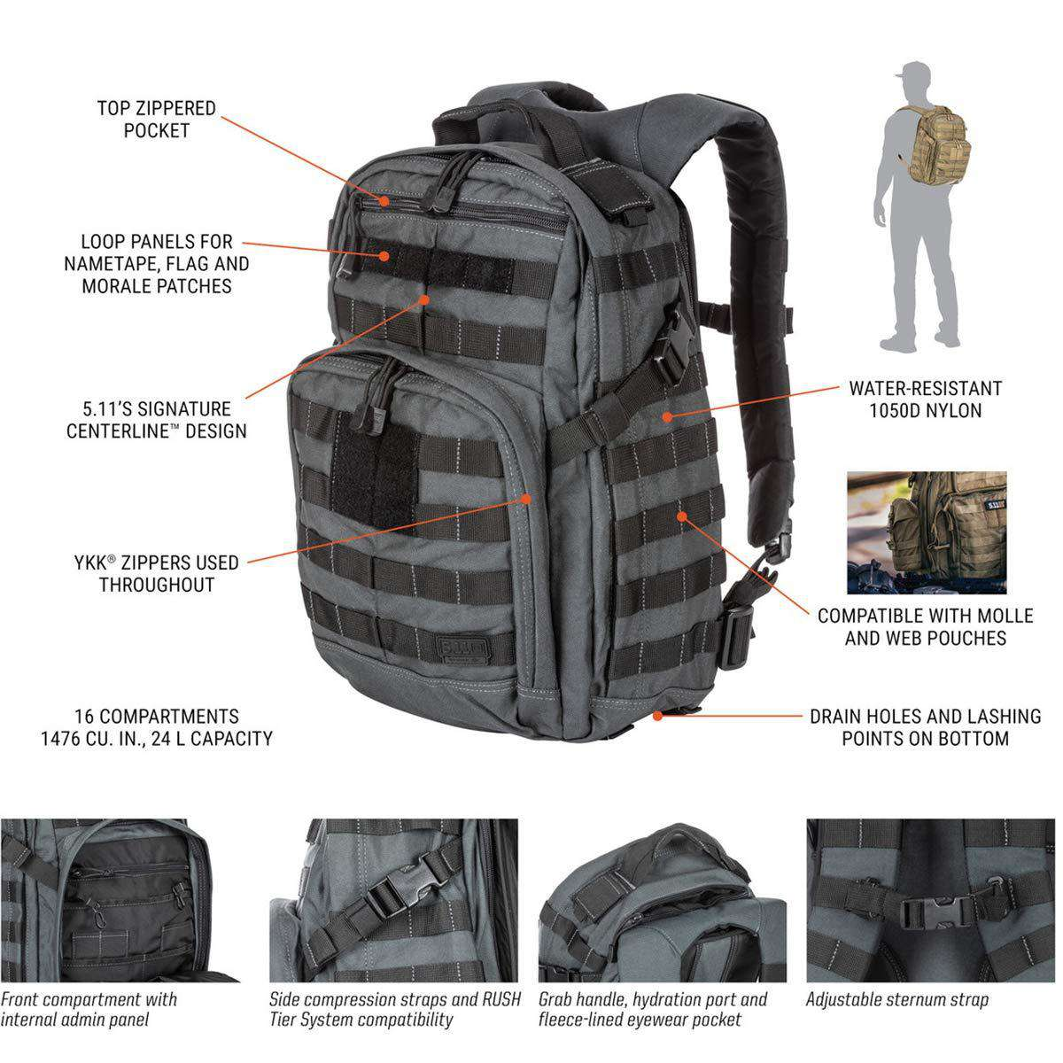 5.11 Tactical Rush12 Military Backpack Molle Bag Rucksack Pack 24 Liter Small @ Sons of Odin™ -