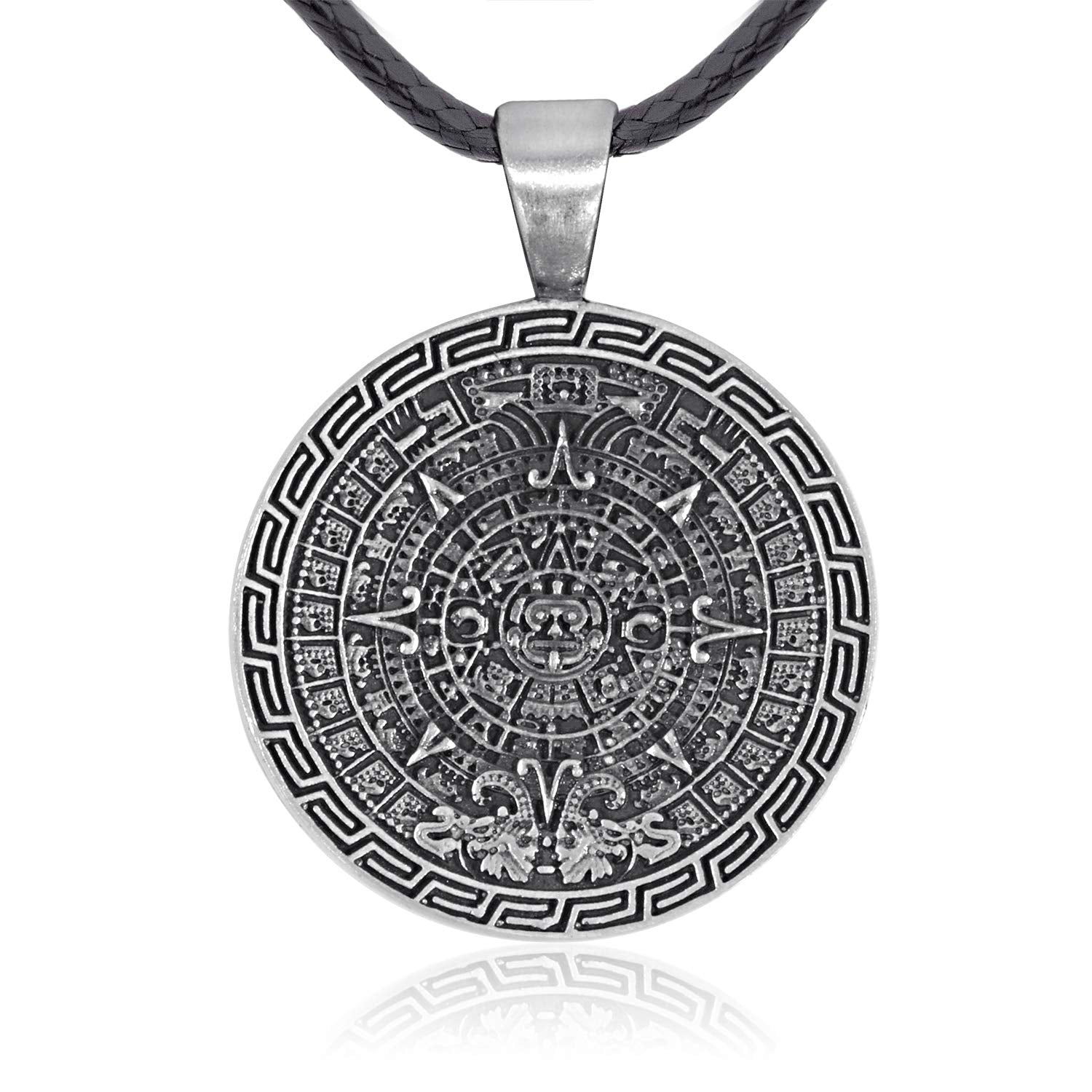 Namaste Jewelers Maya Inspired Mayan Calendar Pendant Necklace Pewter Jewelry