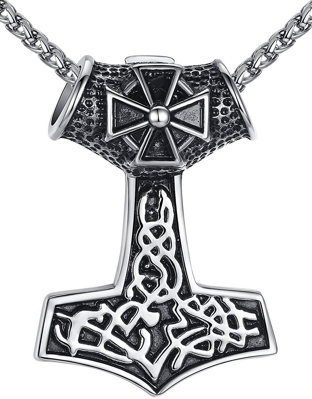 "Aoiy Men's Stainless Steel Viking Thor's Hammer and Cross Pendant Necklace, 24"" Link Chain, aap140"