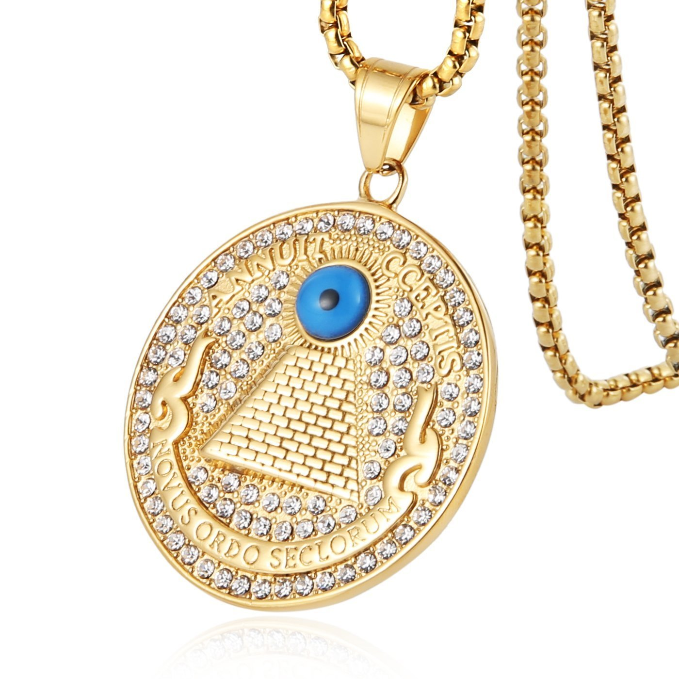 HZMAN 18k Gold Plated Novus Ordo Seclorum Stainless Steel Eye of Providence All-Seeing-Eye Pyramid/Eye Medal Pendant Necklace