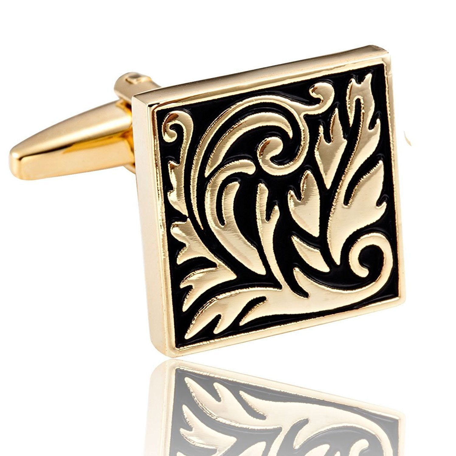 Ornate Floral Scroll Cufflinks - Gold & Black IP Stainless Steel