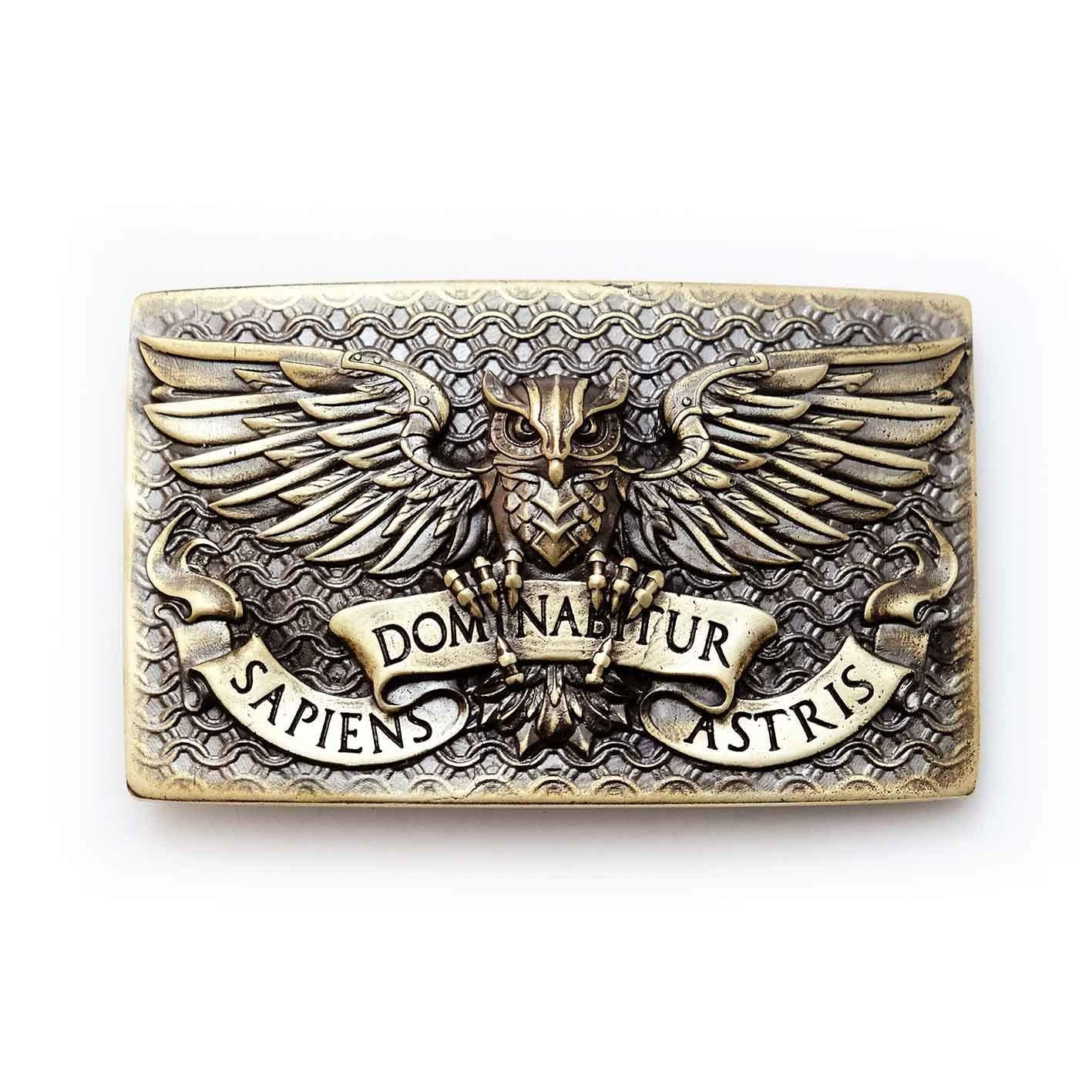 Fighting Eagle Owl belt buckle, Wild fighting bird Eagle Owl Bubo bubo military solid brass belt buckle