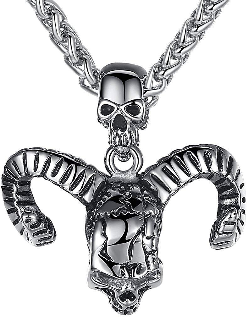 Aoiy Men's Stainless Steel Gothic Devil Bull Horn Skull Biker Pendant Necklace @ Sons of Odin™ -