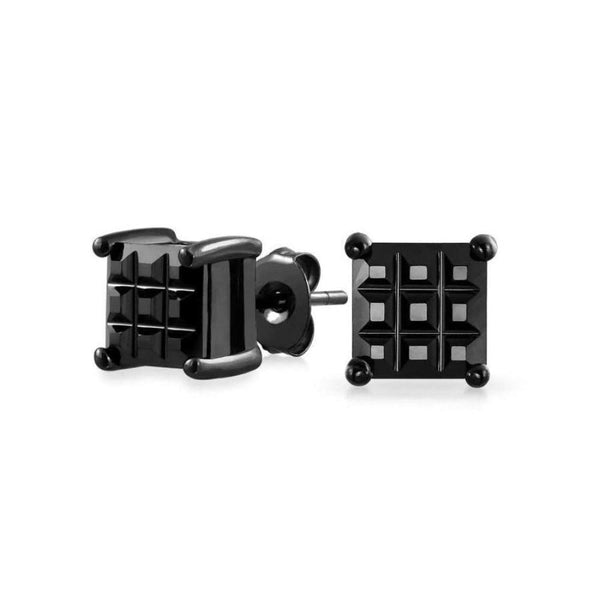 .75CT Square Black Invisible Cut Square CZ Checkboard Stud Earrings