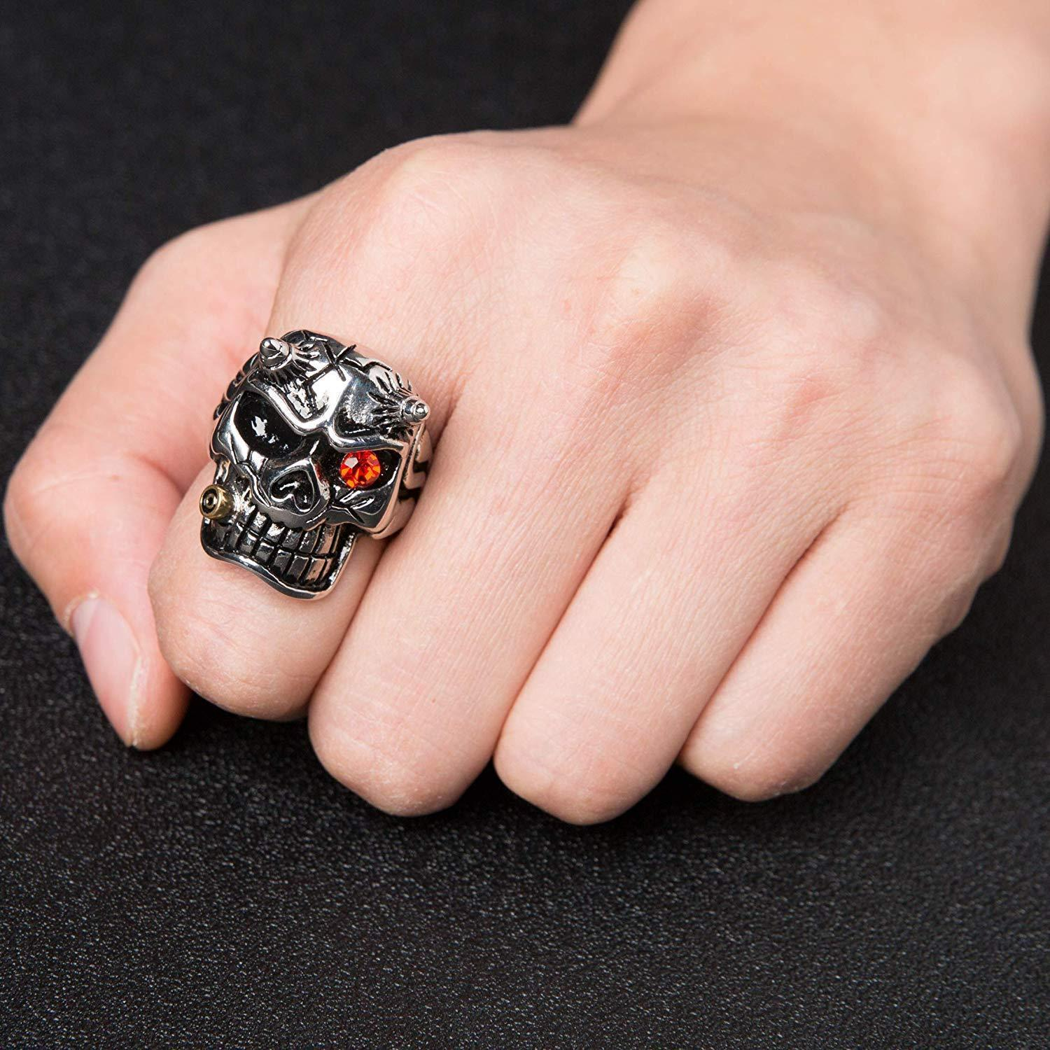HZMAN Men's Red Cz Iced Gothic Skull Stainless Steel Ring Biker Band