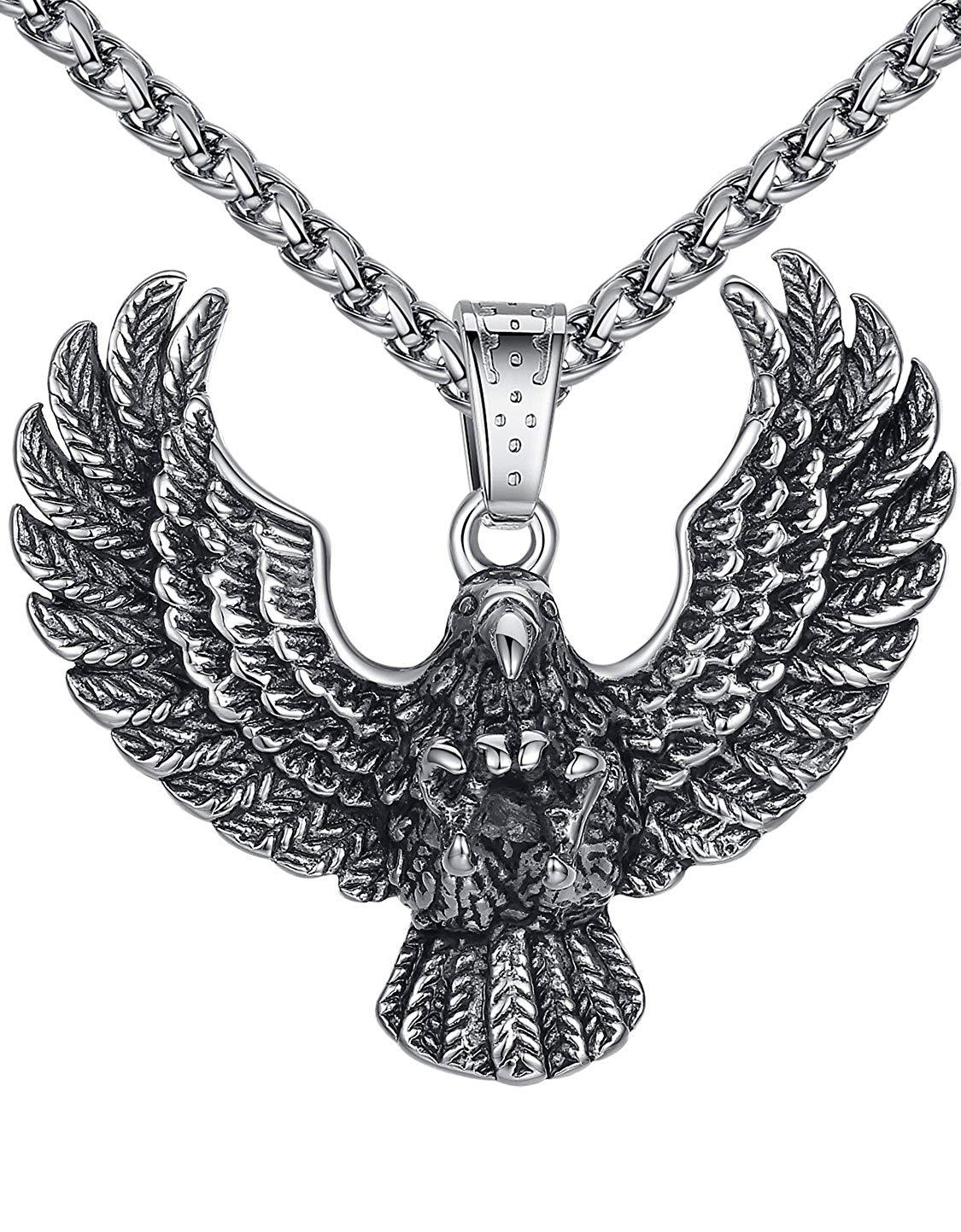 Aoiy Men's Stainless Steel Large Eagle Biker Pendant Necklace 24 Link Chain @ Sons of Odin™ -