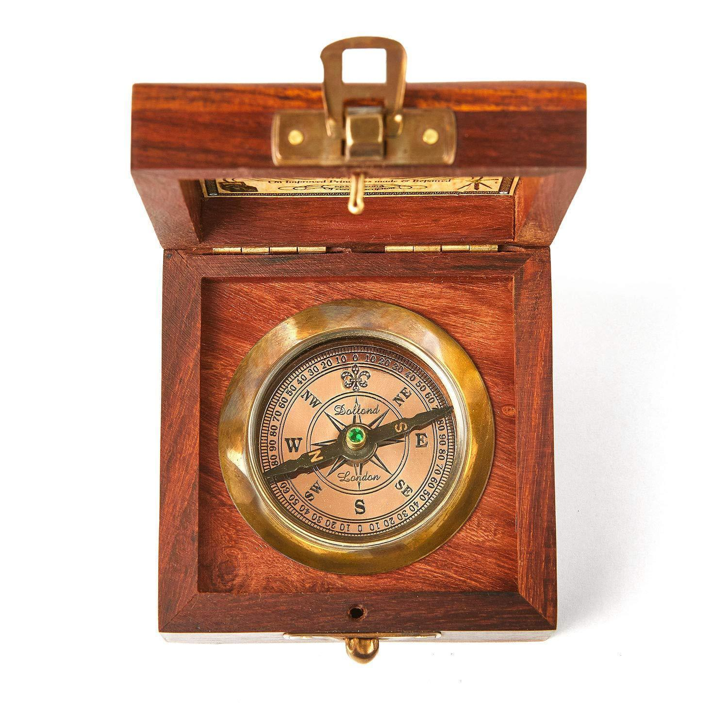 Super7one Handmade Antique Vintage Brass Compass in Rosewood Box | Nautical @ Sons of Odin™ - Men's