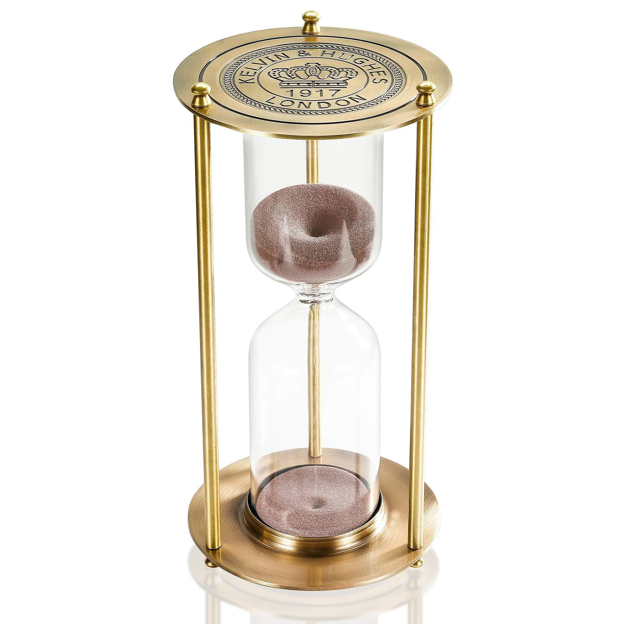 Suliao Large 60 Minute Hourglass 720° Rotating Brass White Sand Timer Clock @ Sons of Odin™ - Men's
