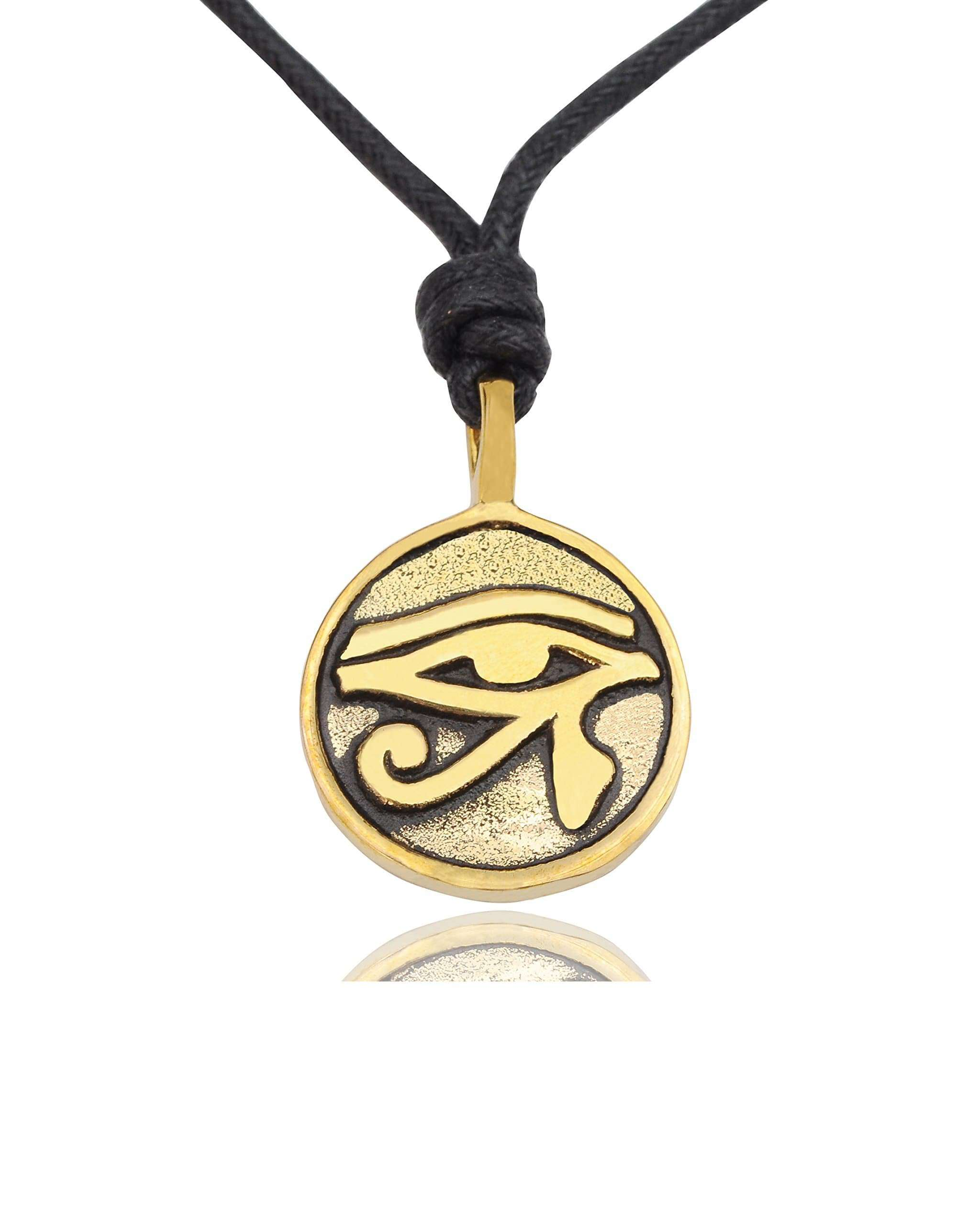 Egyptian Eye of Ra Horus Gold Brass Charm Necklace Pendant Jewelry @ Sons Odin™ - Men's on Sale,