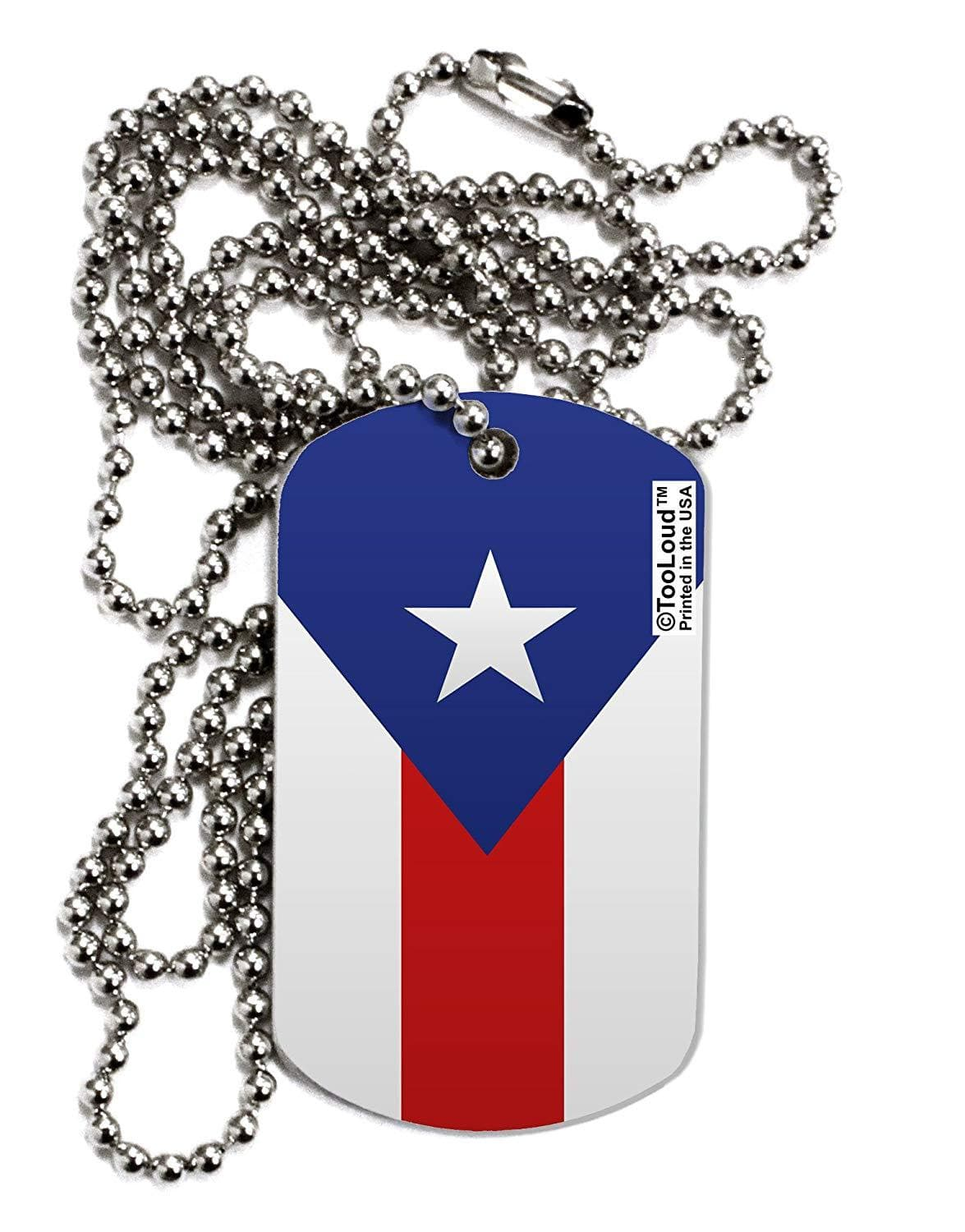 TooLoud Puerto Rico Flag AOP Adult Dog Tag Chain Necklace