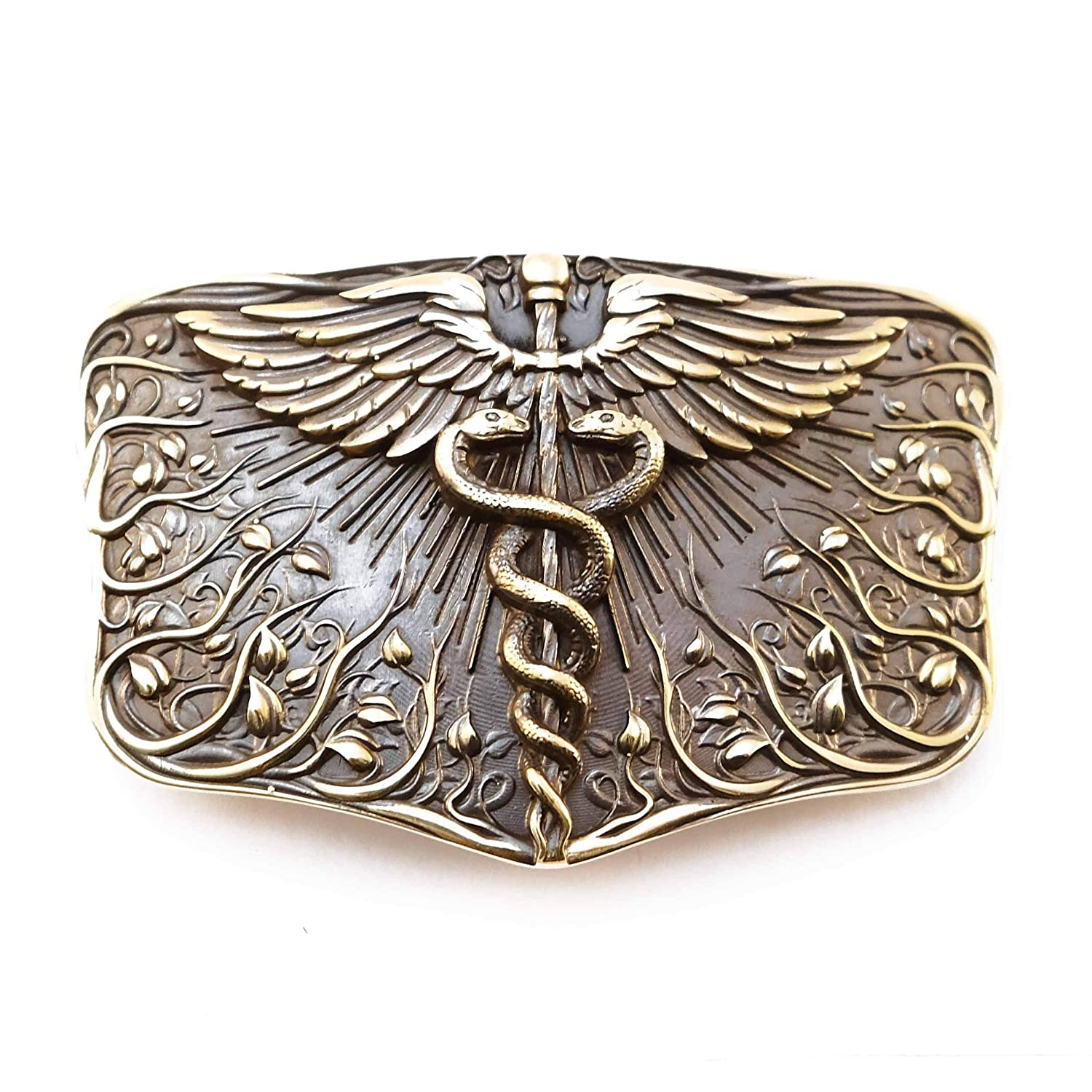 Belt buckle Caduceus, Handmade Medical Corps solid brass belt buckle