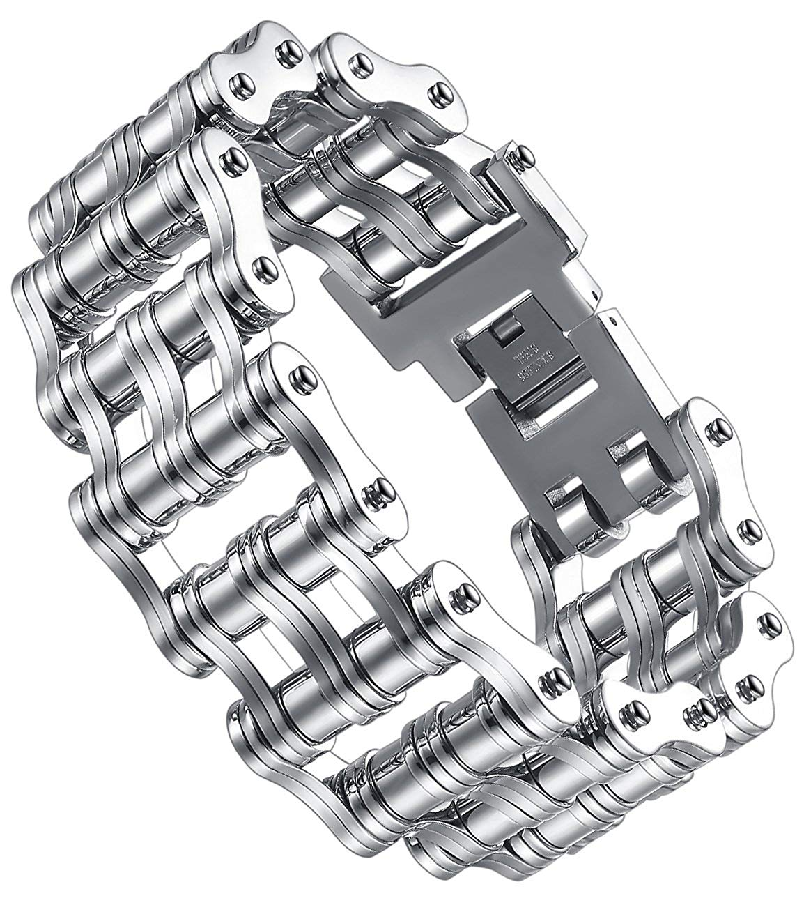 Aoiy Men's Stainless Steel Extra Large and Heavy Biker Bicycle Chain Bracelet @ Sons of Odin™ -