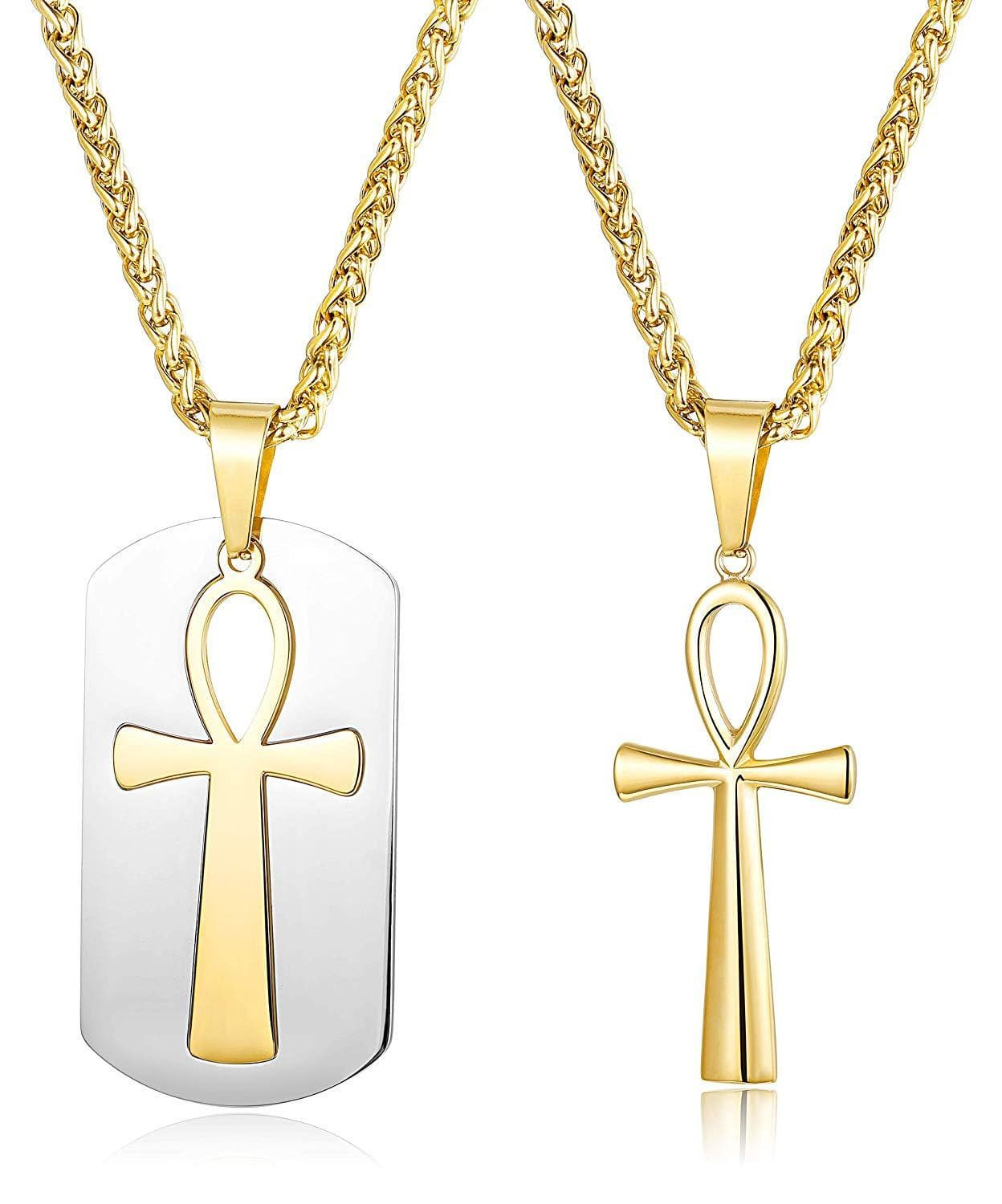 ORAZIO 2PCS Stainless Steel Egyptian Ankh Cross Pendant Necklace for Men Women Dog Tag Religious Necklace Chain, 22 24 Inch