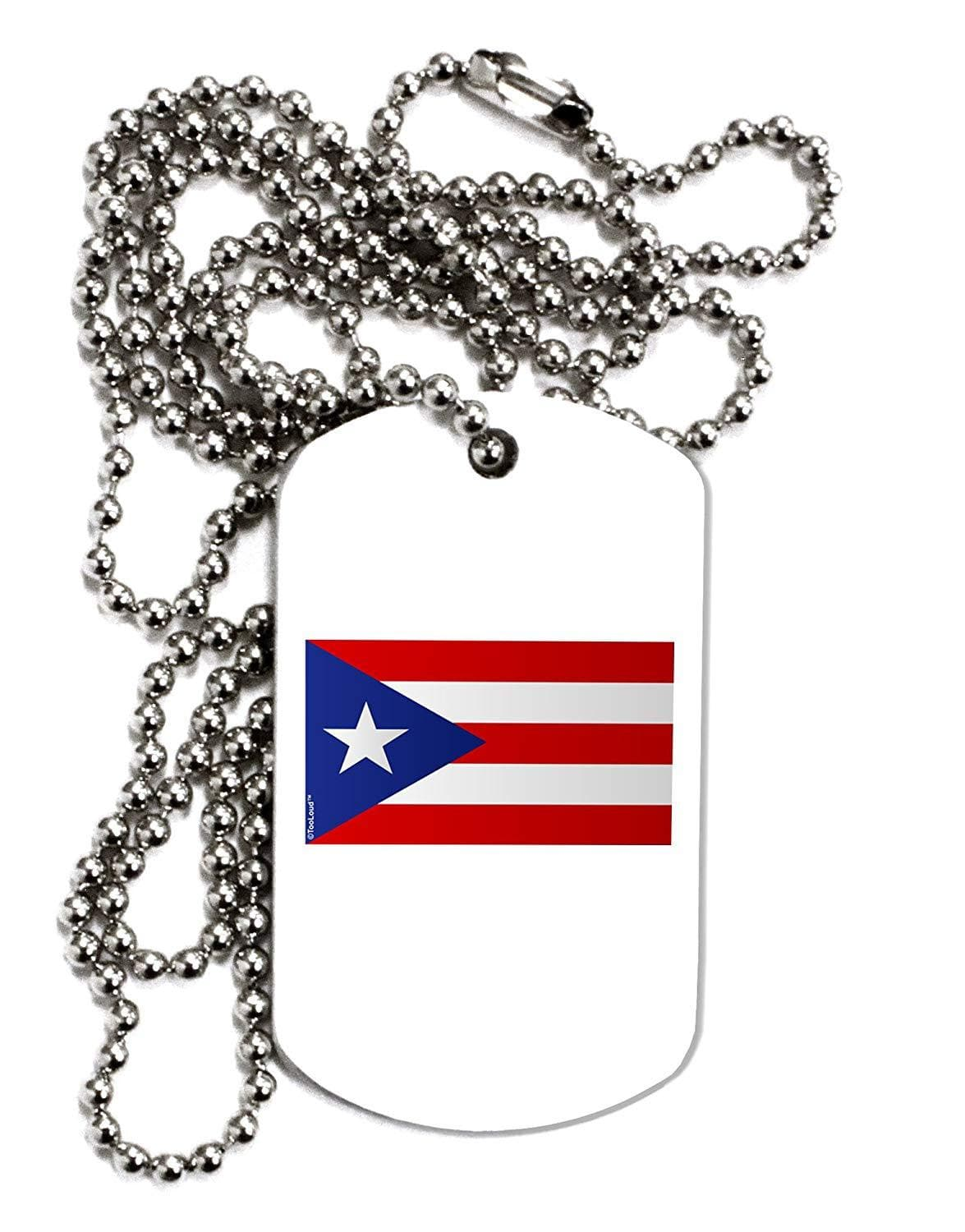 TooLoud Puerto Rico Flag Adult Dog Tag Chain Necklace