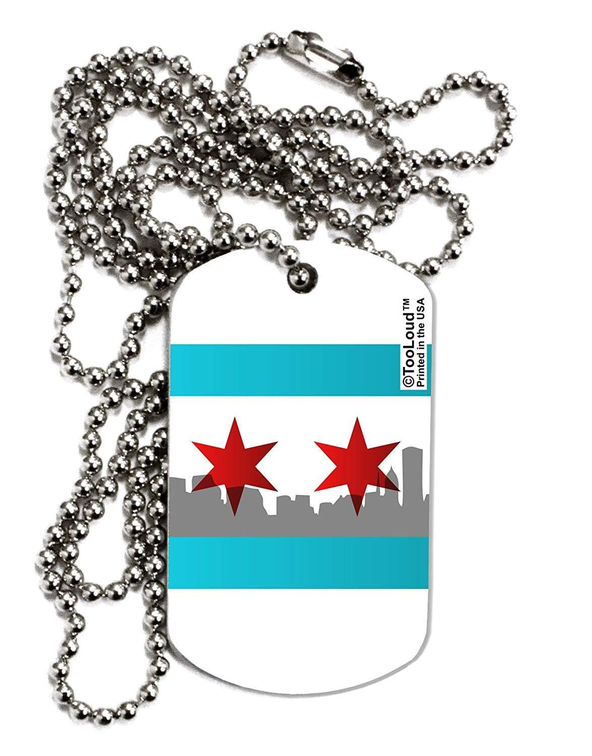 TooLoud Chicago Flag Skyline AOP Adult Dog Tag Chain Necklace