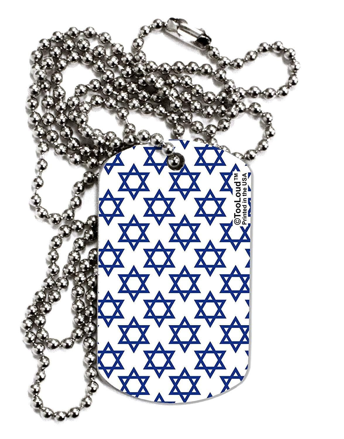 TooLoud Stars of David Jewish Adult Dog Tag Chain Necklace