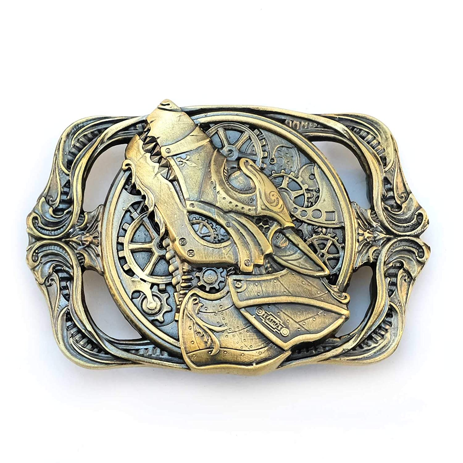 Belt buckle Steampunk Wolf, Solid brass sculptural Victorian art wolf belt buckle