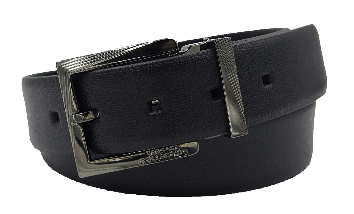 VERSACE COLLECTION Mens Black Saffiano Leather Silver Buckle Adjustable Belt 177