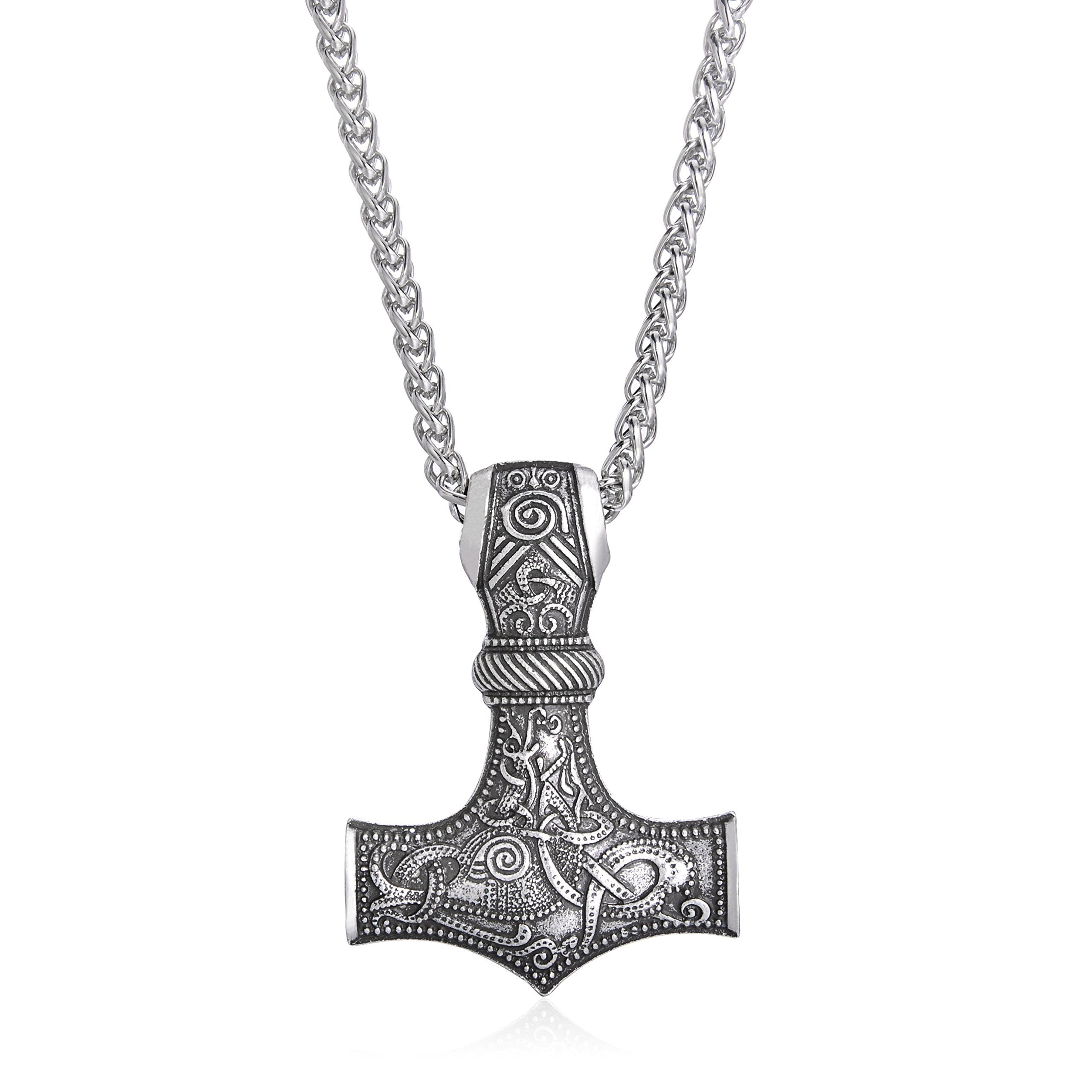 LANGHONG Nordic Viking Thor's Hammer with God's Horn Necklace Jewelry Talisman Mjolnir Necklace (Antique Silver) - SonsofOdin Co Goth Viking Biker Jewellry