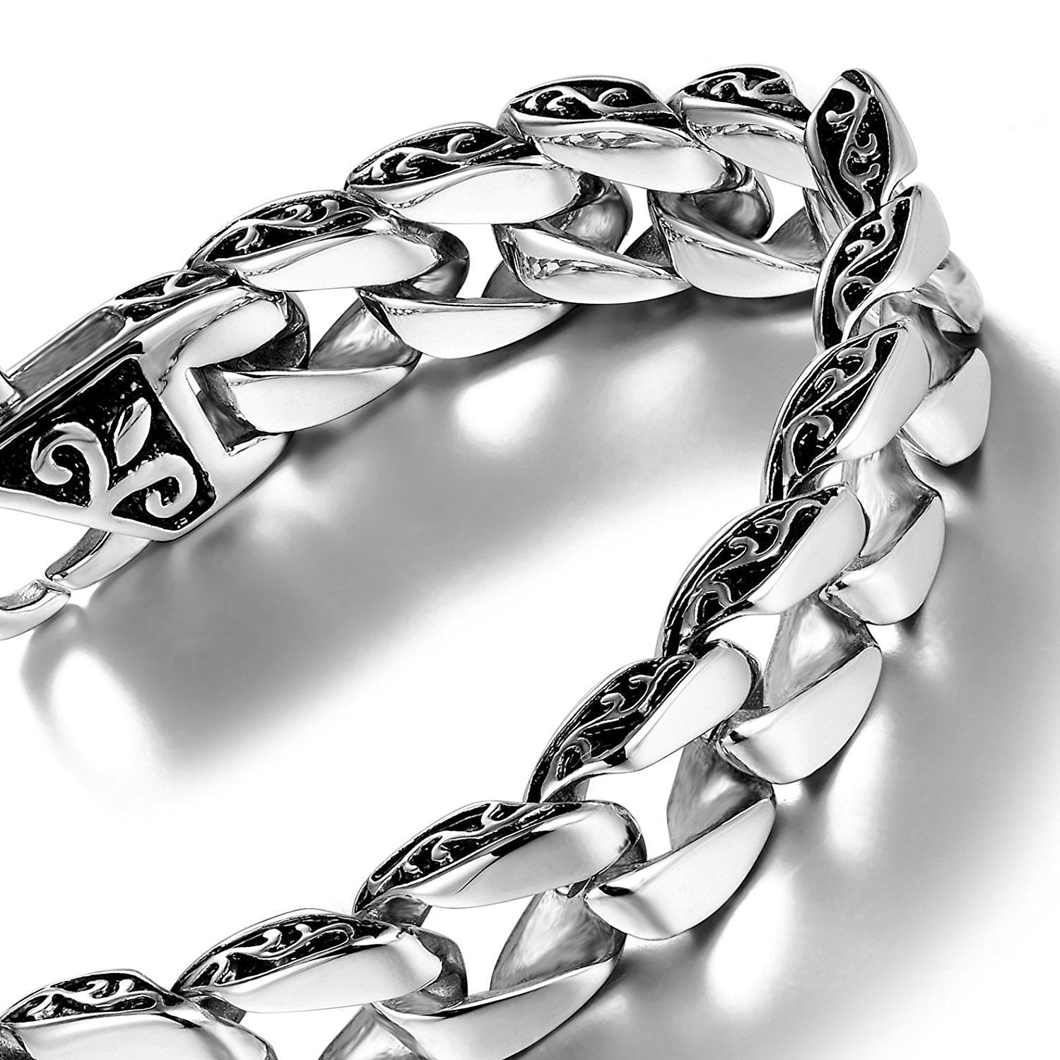 Ornate Fleur De Lis Stainless Steel Link Bracelet - Silver - 8.5 Inches