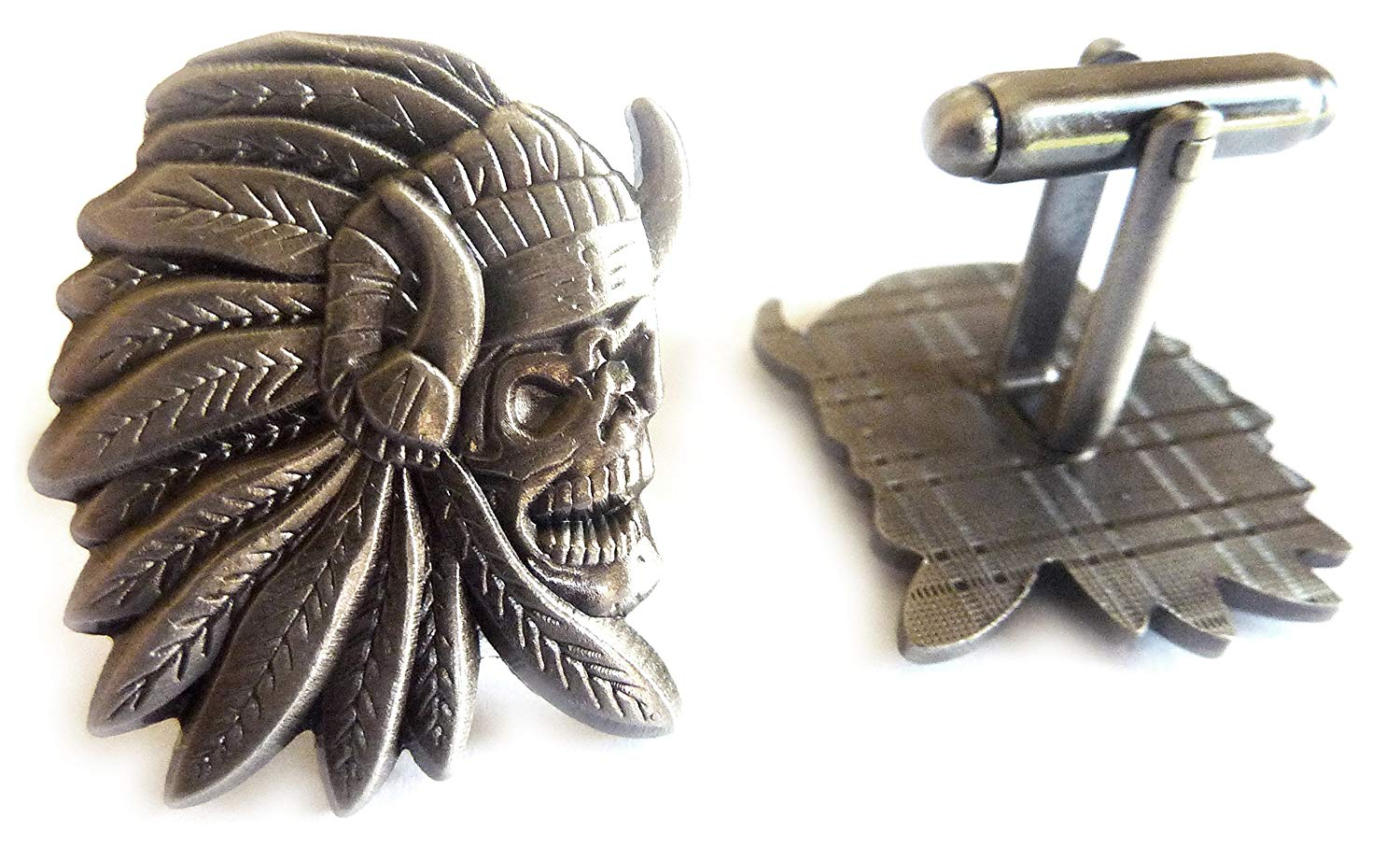 Indian Chief Skull Skeleton Biker Motorcycle Suit Tuxedo Cufflinks Cuff Links Set