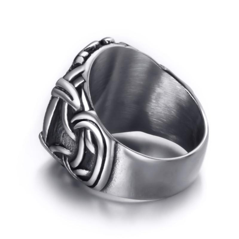 Elfasio Viking Valknut Pirate Compass Norse Scandinavian Text Symbol Men Stainless Steel Ring Vintage Jewelry