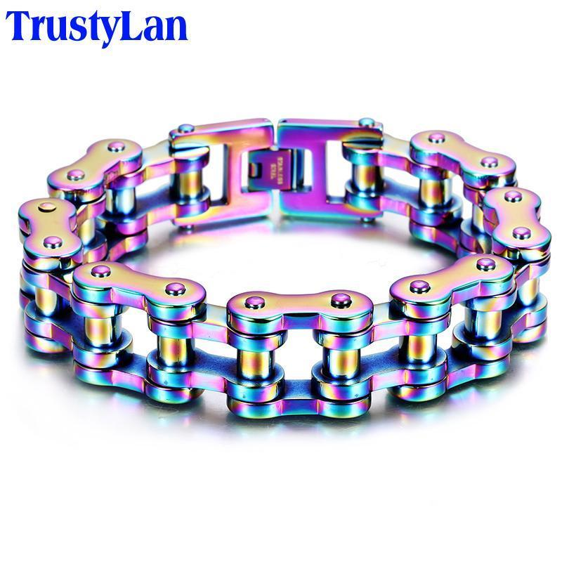 TrustyLan 316L Stainless Steel Bracelets Long Biker Bicycle Link Chain Men Male Accessory Vintage Men's Ankle Accessory Gifts