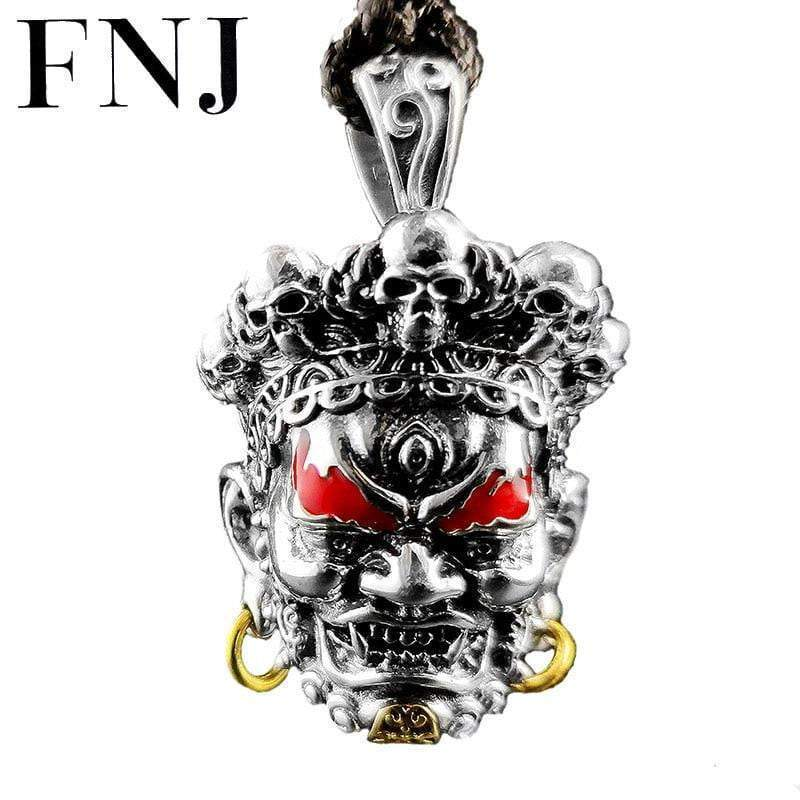FNJ 925 Silver Skull Pendant Figure Punk Red Paint Real S925 Original Thai Silver Pendants for Men Jewelry Making
