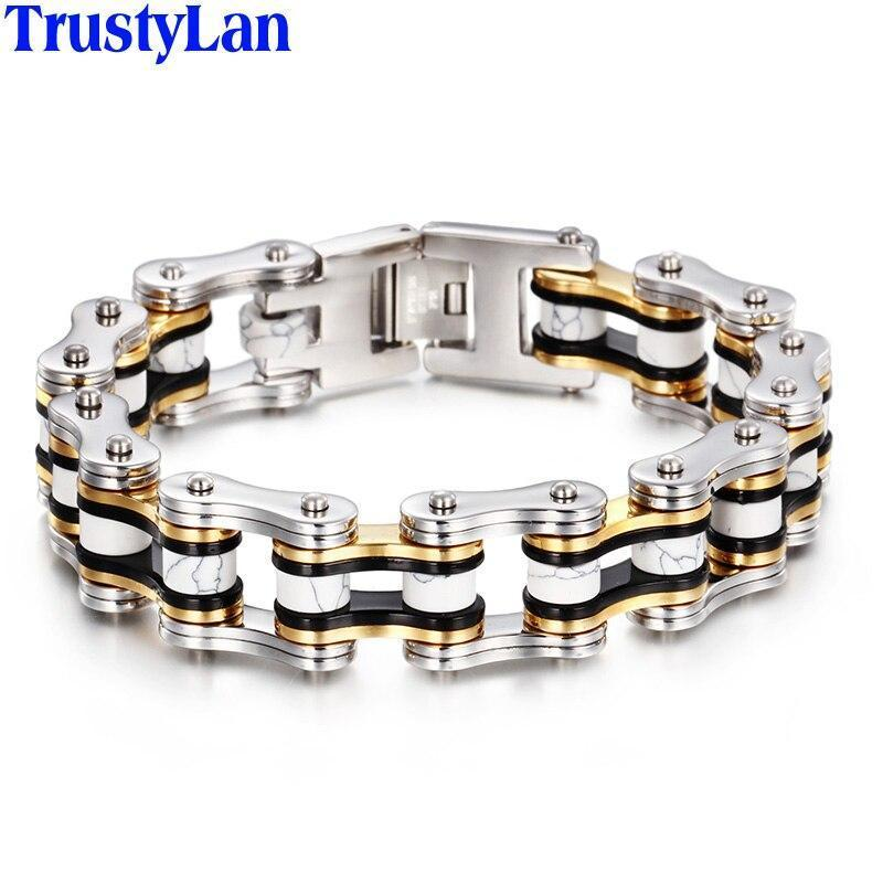 TrustyLan Bicycle Motorcycle Chain Bracelet Homme Gold Color Stainless Steel Biker Jewelry Men 18MM Wide Wristband Gifts For Him