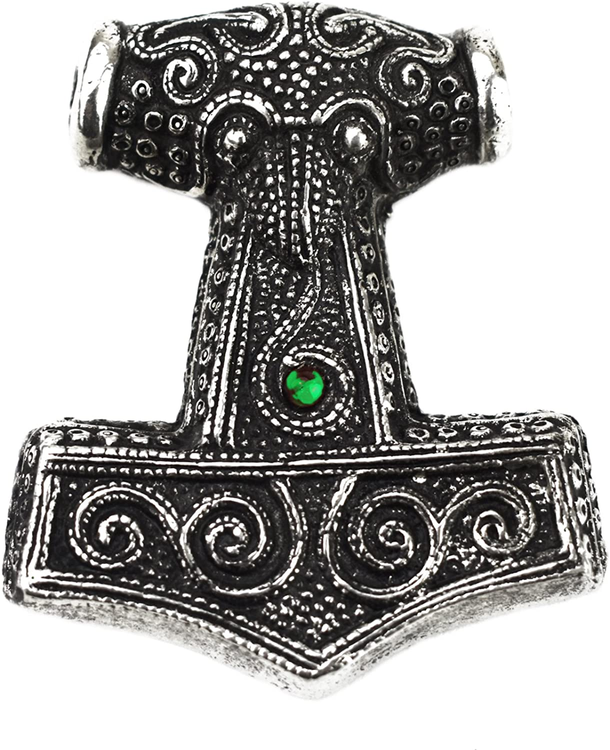 Asgard Viking Pagan Skane Hammer Mjolnir Pendant - Green @ Sons of Odin™ - Men's Jewelry on Sale,