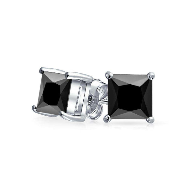1.50 CT Black Square Princess Cut CZ Stud Earrings Men Sterling Silver