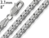 "Sterling Silver 8"" Box Chain Bracelet 3.1mm"