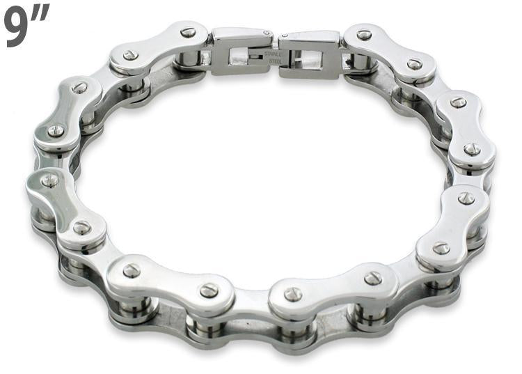 Stainless Steel Motorcycle Chain Bracelet 9 inches - 10.4mm
