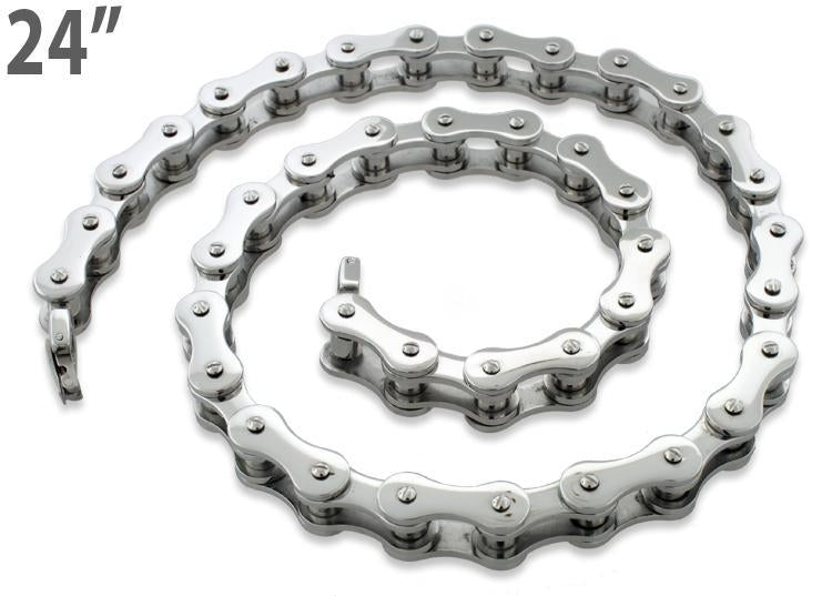 Stainless Steel Motorcycle Chain Necklace 24 inches - 10.4mm