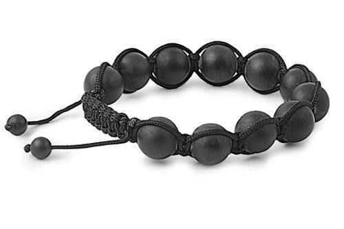 12mm Matte Black Beads Shamballa Bracelet