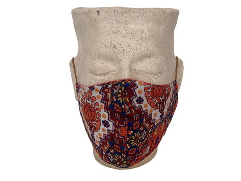 Orange Protea Print & Plain Orange Linen Reversible Bellibutton Mask - Adult