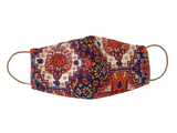 Orange Protea Print & Plain Orange Linen Reversible Bellibutton Mask - Kids