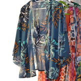 Floral Leaf Blue Design Short Length Kimono