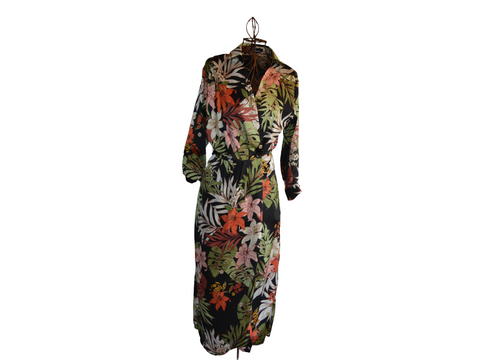 Autumn Green Leaf & Black Floral maxi wrap dress with button, 3/4 Sleeve