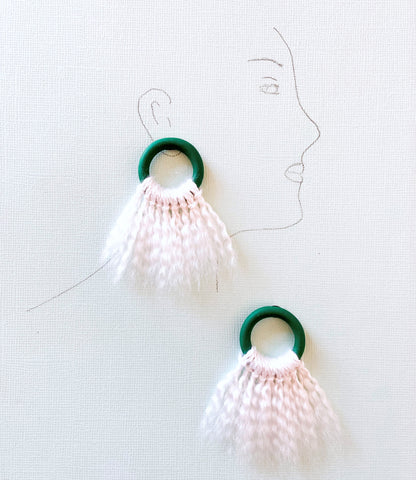 Hue & Me - Emerald Green, Oat Tasseled Hoop Stud Earrings