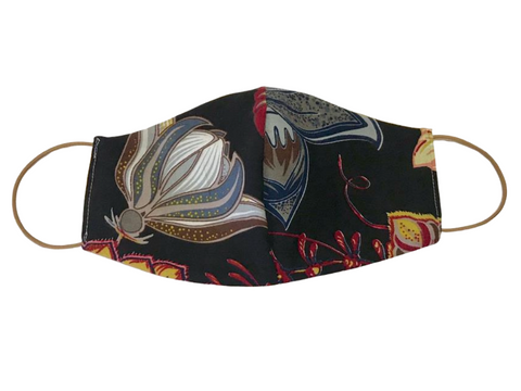 Protea floral black & Olive green Linen Fashionable Mask - Adult