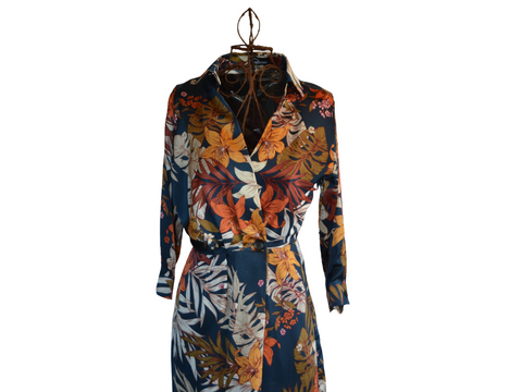 Autumn Red Leaf & Navy Floral wrap maxi  dress with button, 3/4 sleeves