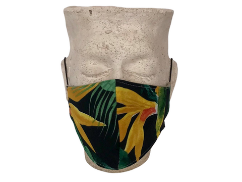 Mustard Strelitzia on Black & Mustard Linen Fashionable Mask - Adult