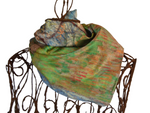 Pastel Blues & Greens Treescape - 20% Silk Short Scarf