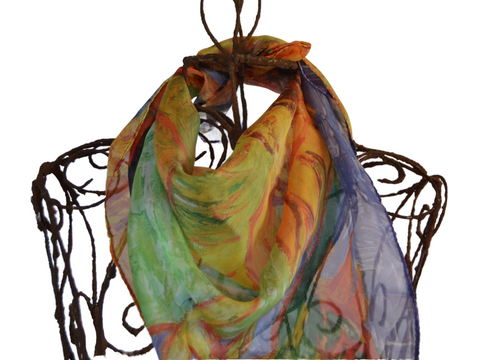 Abstract Oranges & Green Sunflower  - Sheer 20% Silk Medium Scarf