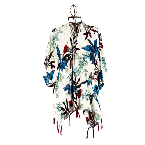 White Floral print with Tassle finish - Short Kimono